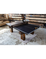 Rail Yard Studios crafts these regulation ping pong tables from authentic railway materials.