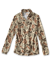 Stay cool, and comfortable on the water wearing the drirelease Camo Quarter-Zip Casting Shirt.