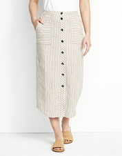 Performance linen in our striped button-front skirt promises breathable comfort in the heat.