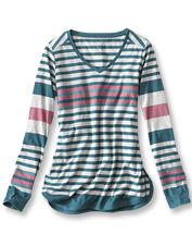 Reach for this lightweight striped tee to breeze into your next adventure.