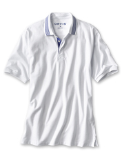 This incredibly soft polo shirt features a covered placket for a crisp, clean appearance.