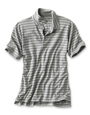 Subtle tonal stripes stretch across this comfortable, easy-wearing Disperse Dye Oxford Polo.