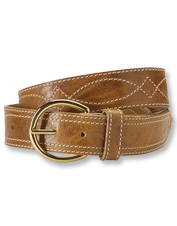 Decorative stitches criss-cross rich Italian leather to create our remarkable Farmington belt.