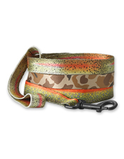 Head outdoors together in style with our sturdy Trout & Camo Print Dog Leashes.