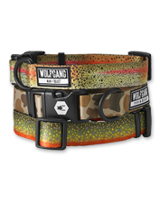 Our Trout & Camo Print Dog Collars look great, and they're built to last.
