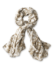 Tonal colors mix, swirl, and blend in our lightweight Watercolor Floral Camo Scarf.