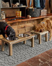 The beautiful natural edge of the acacia wood adds rustic charm to this raised dog feeder.