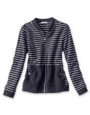 This striped bomber-style Causeway Overlayer Jacket by Barbour is perfect for surf and summer.