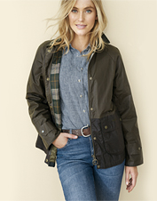 Repel bluster and damp in the lightweight waxed cotton Robyn Jacket from Barbour.