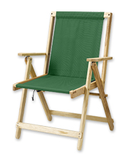 The wood-and-canvas design of this Folding Chair goes anywhere—then lies flat for easy storage.