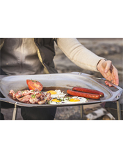 The OpenFire Pan by Primus makes cooking over the flames of a fire pit a cinch.