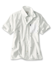 Show off your love of water with the fisherman print on this casual Barbour shirt.