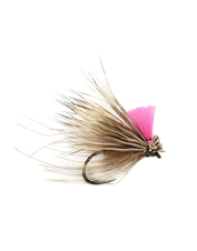 This hi-viz elk hair and CDC caddis fly stands out against the water's surface.