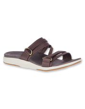 Comfortable leather Kalari Shaw Slides by Merrell boast grippy outsoles and cushy footbeds.