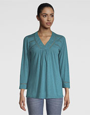 Dress up the tee, but keep its comfort, wearing our West River slub knit top.