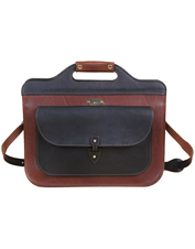 The handsome leather No. 50 Executive Slim Briefcase boasts plenty of carrying space within.