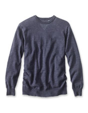 A plaited knit adds interest to this classic, casual crewneck sweater.
