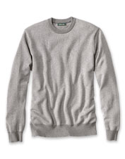 A cotton/silk/cashmere blend makes our herringbone crewneck sweater sublimely soft.