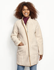 Spend the winter warm and cozy inside our sherpa fleece Cocoon Coat.