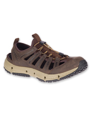 Slippery moss-and-algae-slick stones are no match for Hydrotrekker Leather Sandals by Merrell.