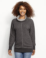 Lounge around or stroll through town in the soft luxury of this cashmere cowlneck sweater.