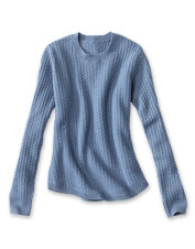 A mitered stitch lends textural appeal to our soft and cozy Donegal Crew Sweater.