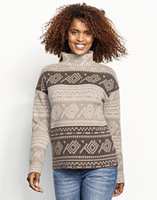 For ultimate softness, wrap up in our cashmere-and-wool-blend Natural Fair Isle Dolman Sweater.