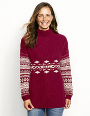 With cables and Fair Isle colorwork, this alpine wool turtleneck offers warmth and beauty.
