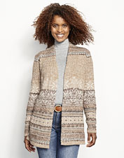 Indulge in the comfort of our Alpine Fair Isle Sweater Coat, with a warm shawl collar.
