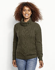 Cotton, cashmere, and wool make our Donegal Cable Turtleneck Sweater soft, light, and warm.