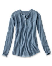 Garment dyeing creates a lived-in look you'll love in our exquisite cashmere Henley sweater.