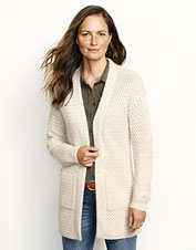 Our open-front Natural Cashmere Basketweave Cardigan Sweater is sustainably produced and ultra-soft.