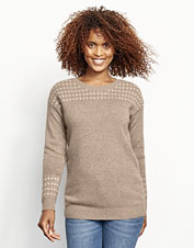 Enjoy the softness and luxury of our natural cashmere Fair Isle crewneck sweater.