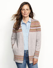 Multicolor Fair Isle designs play across this warm and beautiful lambswool cardigan.