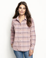 This soft corduroy shirt features a rose plaid that is yarn-dyed for rich, long-lasting color.