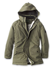 Our Green Mountain Parka 3.0, styled for men, resists extremes of cold, wind, and water.