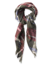 Worn as a scarf or a wrap, our Bouclé Plaid Scarf offers warmth and style in equal measure.