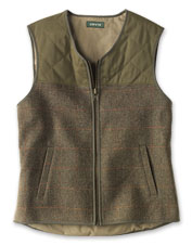 Our Bristol Bay Zip Vest boasts attractive wool herringbone and cotton-blend diamond quilting.