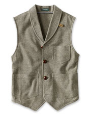Our Washed Wool Shawl Collar Vest is a versatile, seasons-spanning option.
