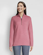 Flattering and comfortable, our quilted jacquard quarter-zip sweatshirt is an all-season go-to.