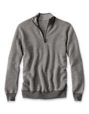Pure cashmere imparts luxury and comfort to our classic herringbone quarter-zip pullover.