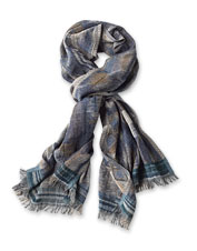 Our Southwestern Jacquard Scarf features an appealing abstract motif in a warm wool blend.