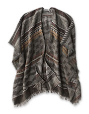 We love this Southwestern Jacquard Ruana for its wool-blend warmth and styling possibilities.