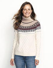 The beauty of Fair Isle and the luxury of cashmere meet in this exquisite cowlneck sweater.