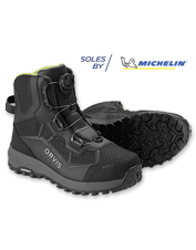 The BOA Lacing System in our Men's Pro Wading Boot offers convenience and enhanced comfort.