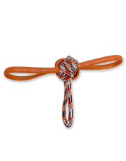 This rope knot dog toy is perfect for playing fetch or tug, or for keeping your chewer busy.