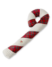 Give your pet a big bite of festive fun with the ultra-tough Jumbo Plaid Candy Cane Dog Toy.