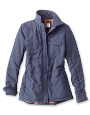 Tech chambray and eco-friendly insulation make our women's shirt jacket a cool-weather go-to.