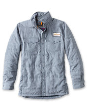 The versatile Tech Chambray Shirt Jacket is perfect for in-between weather.