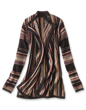Layer on some texture wearing our colorful jacquard-woven Blanket-Stripe Cardigan Sweater.